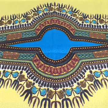Kenyan Fabric--Dashiki Style Print--African Wax Print Fabric--Lemon Yellow and Turquoise with Woven Swirls--Dashiki Fabric by the PANEL