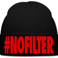 NO FILTER RED beanie knit hat