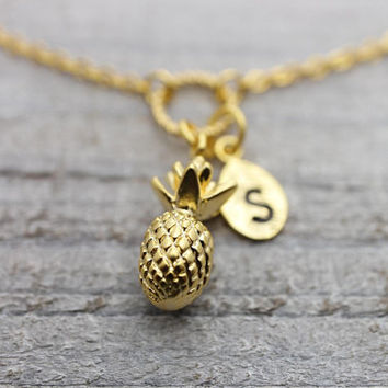 Custom hand stamped initial pineapple gold bracelet with an adjustable extension chain