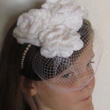 Days gone by Wedding white sparkle shabby chic vintage feel crochet flower hair band-alice band fascinator Wedding hair Bridal accessories