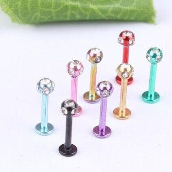 LP52011 free shipping 50pc/lot 16 gauge lip labret body jewelry  T shaped 5pc rhinestone 3mm crystal ball colored lip ring
