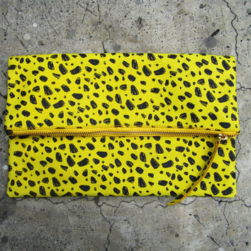 Leopard Print Fold Over Zipper Pouch Leather Clutch