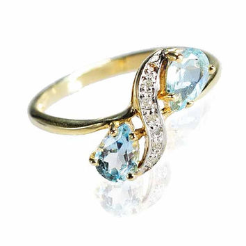 Estate 10K Gold Aquamarine Edwardian Ring Diamond Ring Size 6 Engagement Ring Wedding Jewelry