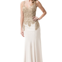 V-Neck Sleeveless Long prom Evening Dress
