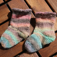 Baby socks - handknit baby socks in pale pink to blue stripes, baby shower gift, baby booties, stay on socks for babies 0-6 months