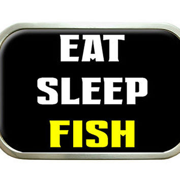 Eat Sleep Fish Belt Buckle