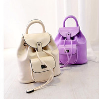 Women's Fashion newest sweet small backpack candy color bag lock female solid color drawstring backpack = 1958569220