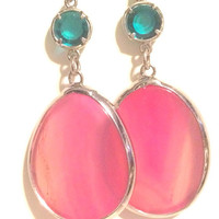 Pink Semiprecious Gemstone Sterling Silver Hypoallergenic Fashion Earrings