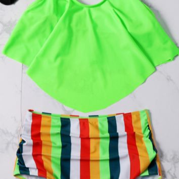 Lime Flounce Stripe High Waisted Bikini Sets