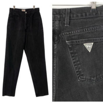 90s Guess Jeans Black Denim Vintage High Waist Mom Pants Tapered Leg Faded Grunge Prep Retro 28 Waist 29 Inseam