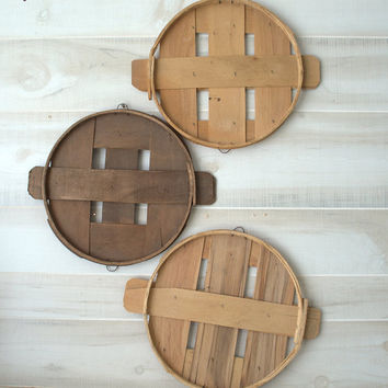 Primitive Wood Wall Hanging, Rustic Cheese Box Lids, Split Wood Crate Lid