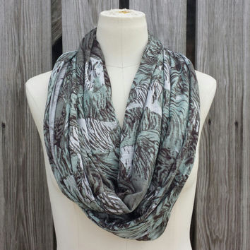 Big Cats Infinity Scarf - Tiger Eternity Scarf - Silky Slub Jersey Knit - Super Soft - Neutral Colors Eternity Scarf