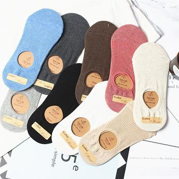 2018 new fashion 5 pairs summer women socks solid color cotton high quality women's ankle japan lady socks slippers for women