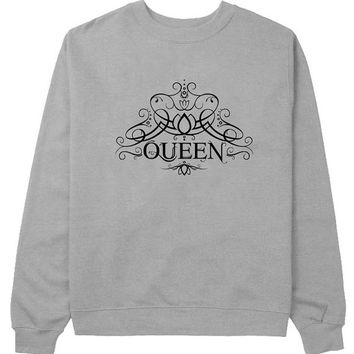 queen sweater Gray Sweatshirt Crewneck Men or Women for Unisex Size with variant colour