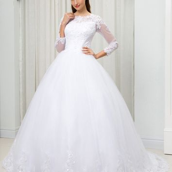 C.V Long Sleeves Sequined Lace Embroidery Arabic Wedding Dress Ball Gown Illusion Sheer Neck Plus Size Bridal Gown W0049