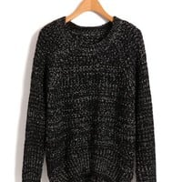 Black Chunky Fleck Yarn Knit Top in Loose Fit