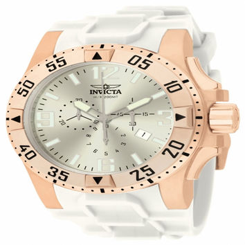 Invicta 11909 Men's Excursion Silver Dial Rose Gold Steel White Rubber Strap Chronograph Dive Watch