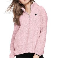 NEW COZY! Sherpa Boyfriend Quarter-Zip - PINK - Victoria's Secret