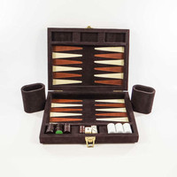Vintage Travel Backgammon Set with Magnetic Board and Pieces