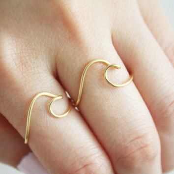 Wave Ring Set of 2// Wave ring, Ocean ring, Best friend rings, Surf ring, Beach ring, Wave Ring Set, Adjustable ring, Brass ring ,Gift