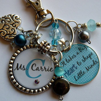 It takes a big heart to shape little minds teacher keychain, gift present Personalized teal aqua heart charm cute quote