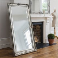 Harrow Leaner Mirror | French Leaner Mirror Silver | French Silver Leaf Leaner Mirror