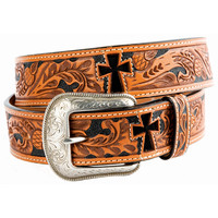 3D Men's Cross Cut-Outs Natural Tooled Belt