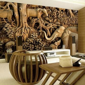 Large Wood carving Elephant 8D Papel Mural 3d Wallpaper for Living Room Background 3d Wall Photo Murals Wall paper 3d Sticker