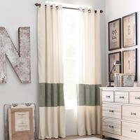 Vintage Canvas Stripe Drapery Panel