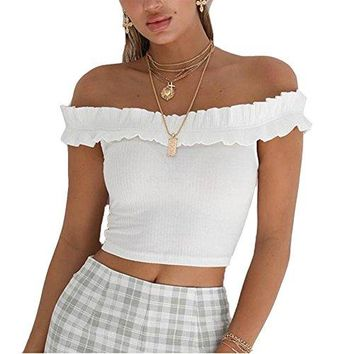 Susupeng Women Sexy Off The Shoulder Short Sleeve Smocked Shirt Strapless Blouse Crop Tops