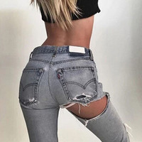 Fashion Edgy Distressed Ripped Pants Trousers Jeans
