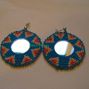 Native American Style Rosette beaded Mirror earrings in Dark Turquoise Blue