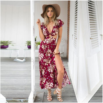 Print Sexy V-neck Split Backless Irregular Prom Dress One Piece Dress [4970282372]