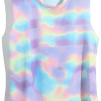 ROMWE | Purple Gradient Galaxy Sleeveless Shirt, The Latest Street Fashion