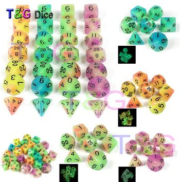 New Arrival! 7 Pc/set  Glowing in the dark dice D4 D6 D8 D10 D10% D12 D20 for Dungeons and Dragons Rpg ,Board game
