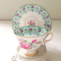 Vintage English Rosina Bone China Tea Cup & Saucer Tea Party