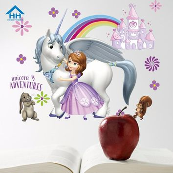 HH Princess Sofia Wall Stickers for Kids Room DIY mural Decals Unicorn Adventure Poster Best Gifts for Girls Cartoon Stickers