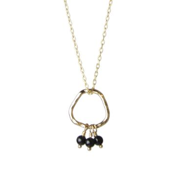 "Bead Trio and Circle ""Three Wishes"" Gold Necklace- Onyx"