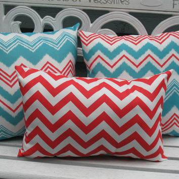 Outdoor Pillow Set Porch Pillows Orange Aqua Chevron Stripe Lumbar Pillows