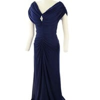 Navy Blue Draped Ruched 40s Inspired Evening Gown