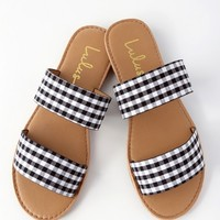 Time to Chill Black Gingham Slide Sandals