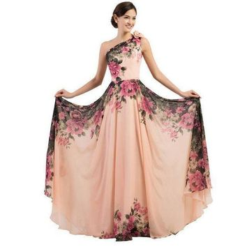 ICIKON3 3 designs Evening Dresses stock one shoulder flower pattern floral print chiffon Evening Dress gown party long promDresses