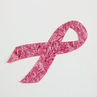 FIVE Pink Breast Cancer Awareness Ribbons, Fabric Applique Iron Ons on Cotton Fairy Frost Fabric