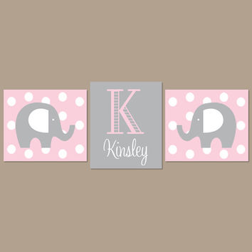 Light Pink Gray Nursery Elephant Nursery Wall Art Elephant Nursery Decor  Girl Nursery Decor Elephant Baby