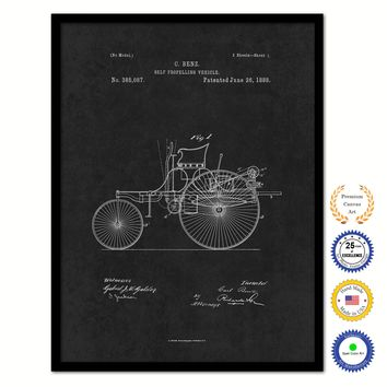 1888 Carl Benz Self Propelling Vehicle Vintage Patent Artwork Black Framed Canvas Home Office Decor Great Gift for Mechanic Car Collector