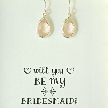 Set of 3 Blush Earrings, Will you be my bridesmaid gift, Blush Bridesmaid Earrings, Blush Wedding earrings , Blush Bridal Earrings, ES3