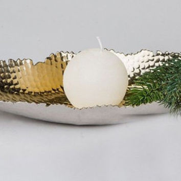 Elegant bowl in boat shape, Centerpiece, Tabletop, Christmas Decor, Xmas, Holiday, Gift, Handmade