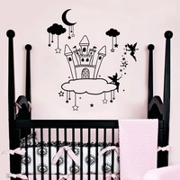 Wall Decal Fairy Clouds Stars Baby Room Vinyl Stickers Castle Palace Mansion Decals Playroom Decor MM33