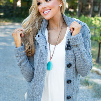 Girl Next Door Hooded Knit Sweater Gray