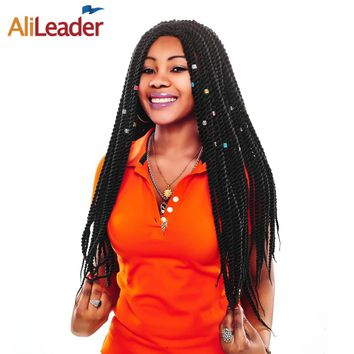 AliLeader Products Senegalese Twist Crochet Afro Braid Hair 22 Inch Synthetic Braiding Hair Ombre Kanekalon Braids 1-10 Pcaks